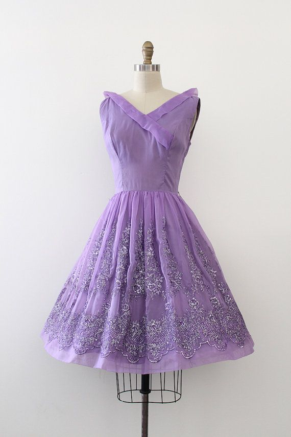 Super adorable purple chiffon prom dress from the 1960s. More ...