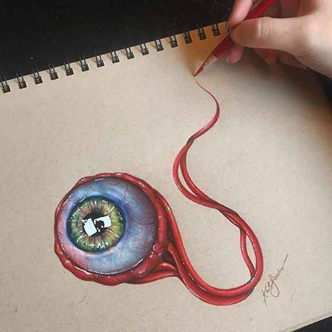 bit.ly/1PvsUUo byartfido: Love this #eyeball done by the ever talented @kathleensanders (Shared by @sambaileyartwork) www.artfido.com