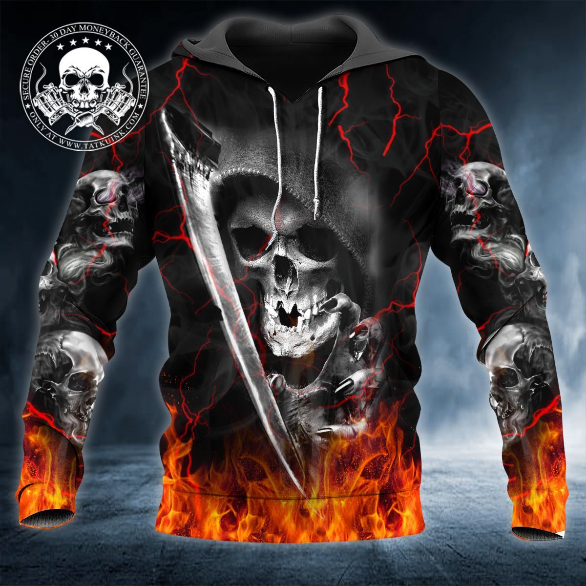 Death Fire Bottom Skull 3D Tees & Hoodies - 3D HOODIE / XXL