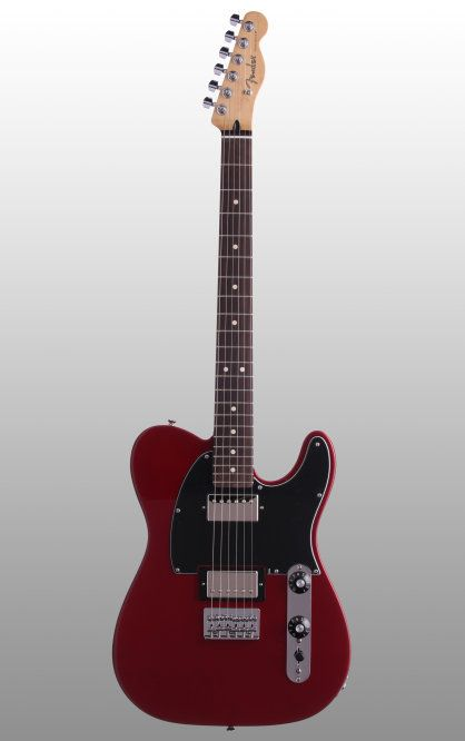 Fender Blacktop Telecaster HH Electric Guitar: With a glassy gloss finish and a hot pair of over-wound alnico humbuckers, this dark-horse Telecaster offers heavy sound and style for a not-so-heavy price.