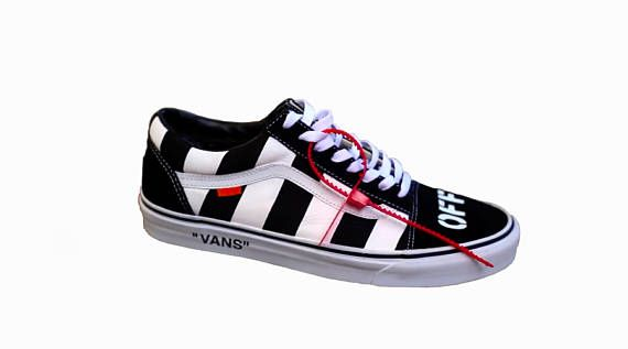 09f9e658ebdeef Vans Old Skool Off White Inspired Theme Custom Shoes-Vans Custom Sneakers  Old Skool-Custom Vans Shoes Hand Painted by Custom County-Men Women Boys  Sizes ...