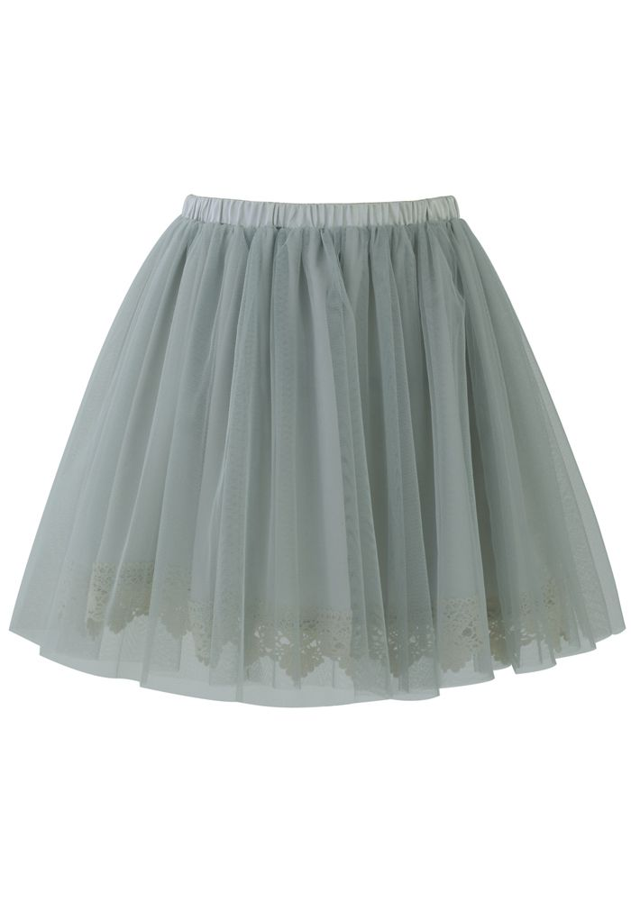 6f42dc5a74 Fairy Tulle Skirt with Lace Trimming in Smoke - Skirt - Bottoms - Retro,  Indie and Unique Fashion