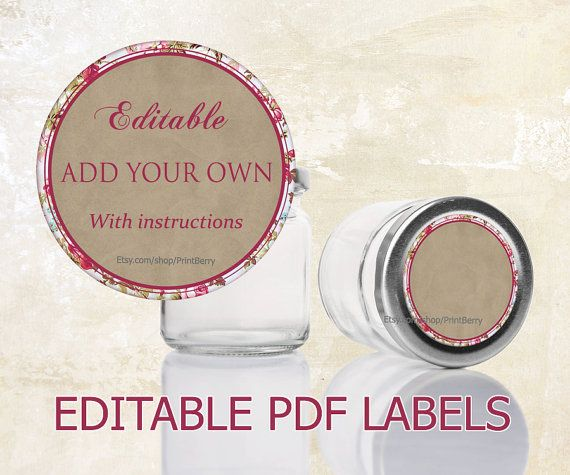 Printable Labels Mason Jar Labels Editable Labels For
