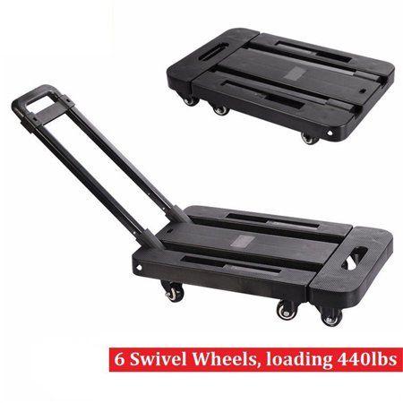 ecfc72c87fe8 Foldable 6 Wheels Hand Trolley Extendable Flat Luggage Shopping Cart ...