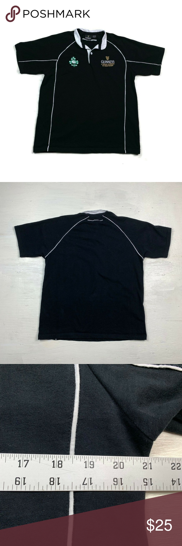 Guinness Beer Polo Shirt Ireland Black White Guinness Beer Polo Shirt Ireland  Men's Size Medium Gently used with, No stains, holes, or piling. Heavier fabric Please see pictures for measurements (Compare w/ Your Favorite Garments For Best Fit) Black White Short Sleeve 100% Cotton   (81J Guinness 0711913) Guinness Shirts Polos