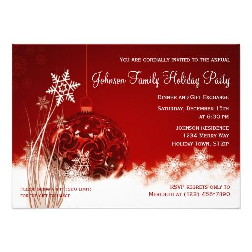 Red Christmas Ornament Holiday Party Invitations SOLD on Zazzle