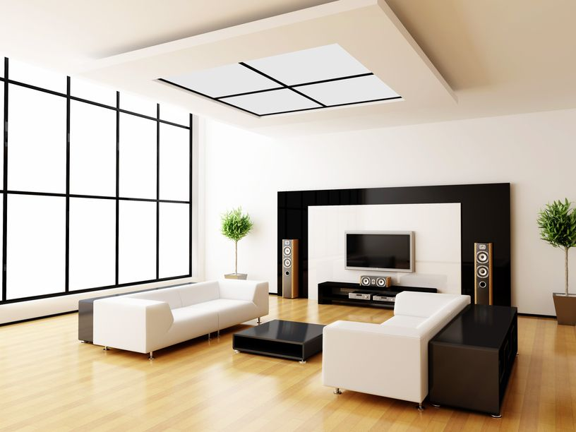 Modern Living Room Design With Light Wood Floor And White Furniture