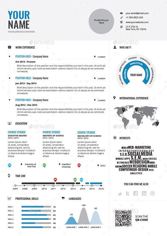 Infographic Resume Template Infographic Resume Vol1  Stuff To Buy  Pinterest  Infographic