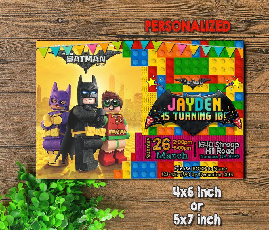Invitación De Lego Lego Batman Invitación Invitación De