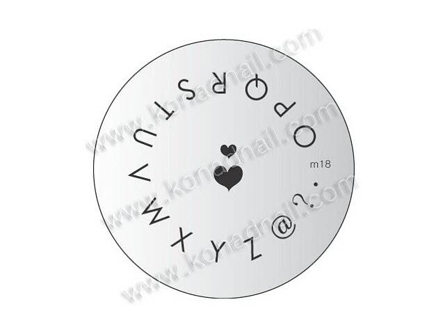Nail Stamping Plate Letters O Z Double Hearts Konad Image