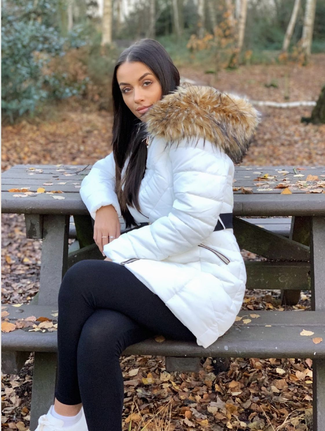 Longline Faux Fur Hooded Belted Padded Puffer Coat White Puffer Jacket Women Puffer Coat Faux Fur Hood [ 1489 x 1122 Pixel ]
