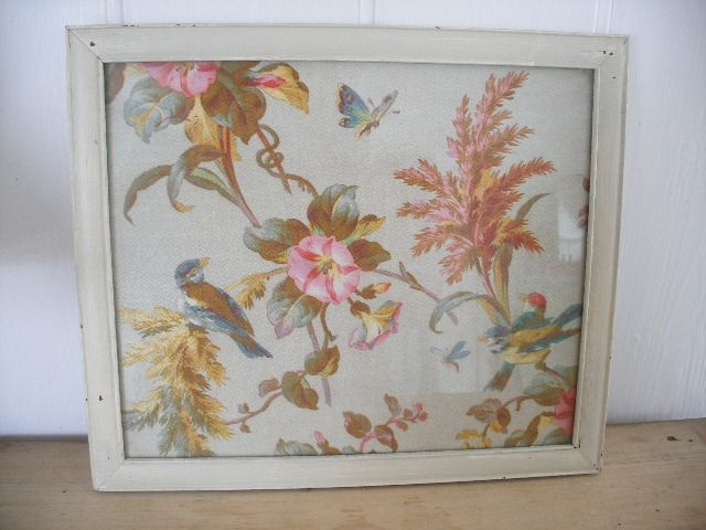 framed French antique fabric