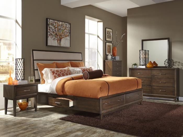 Mb81 Contemporary Espresso Queen Storage Bed Dresser Mirror
