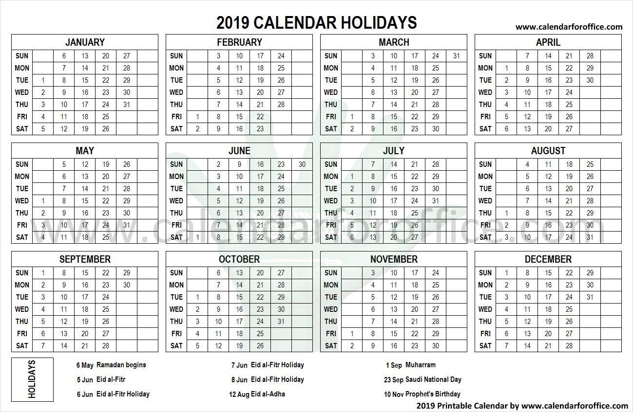 2019 Calendar Saudi Arabia Holidays Calendar 2019 Calendar