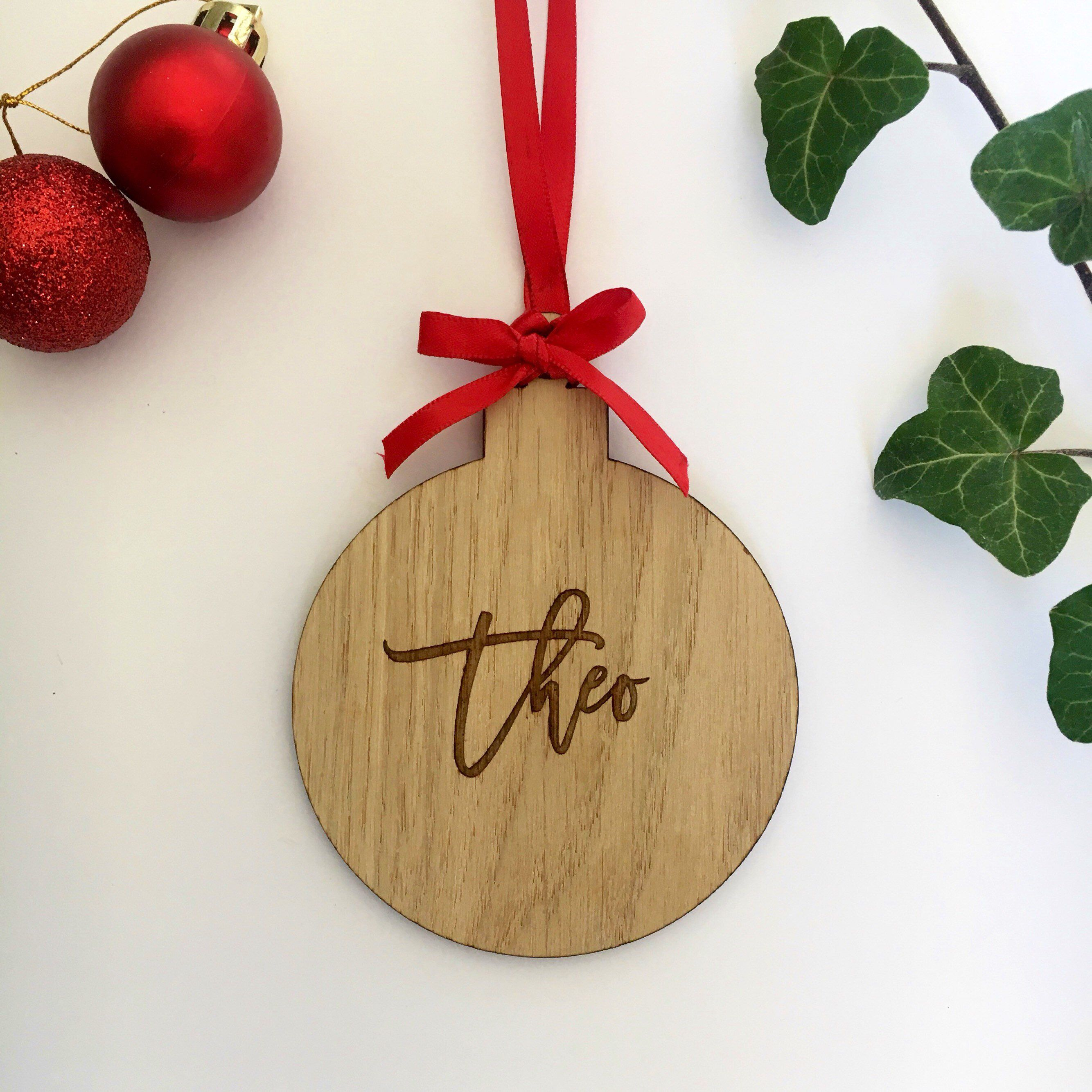 Personalised Name 1st Christmas Tree Bauble Wooden Heart Decoration Gift