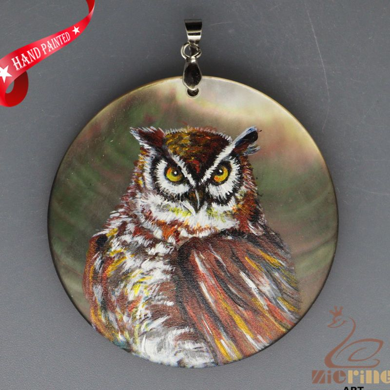 HAND PAINTED OWL BIRD NATURAL MOP MOTHER OF PEARL PENDANT FOR NECKLACE ZH3000008…