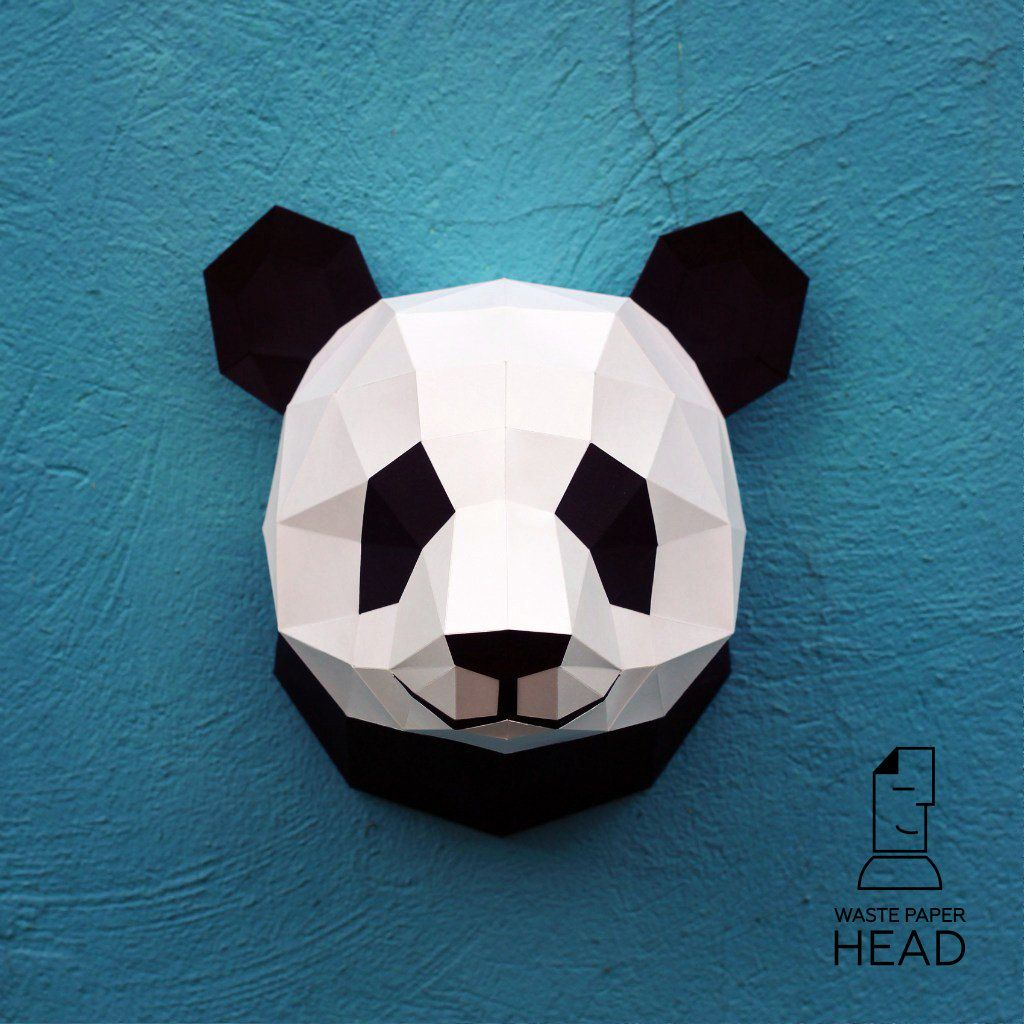 01 - papercraft panda head - printable digital template | Plantas ...