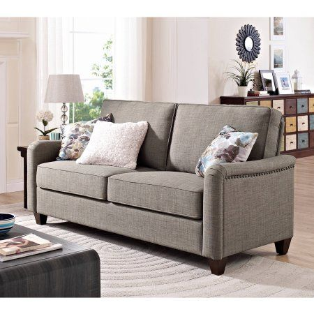 Wondrous Better Homes And Gardens Grayson Sofa With Nailheads Grey Bralicious Painted Fabric Chair Ideas Braliciousco