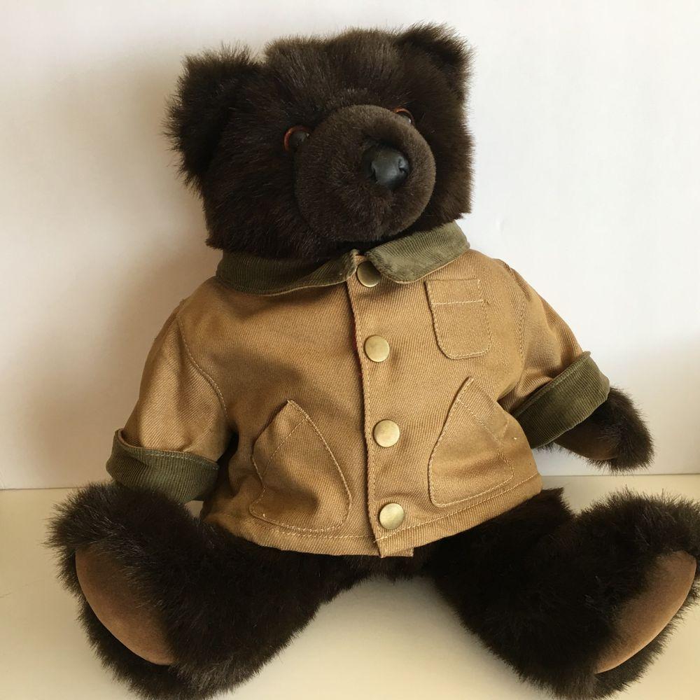 1b1fb55c21e LL Bean Plush Teddy Bear Dark Brown Field Coat 17 Inches 3 years Poseable   LLBean