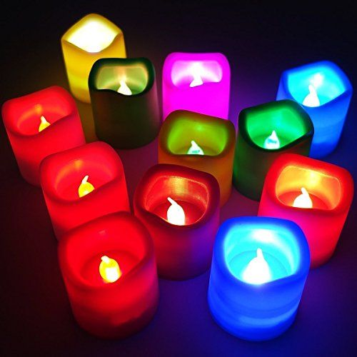 VRCT Plastic Colour Changing Flickering Flameless LED Candle Tea light - Diwali Decoration (M...