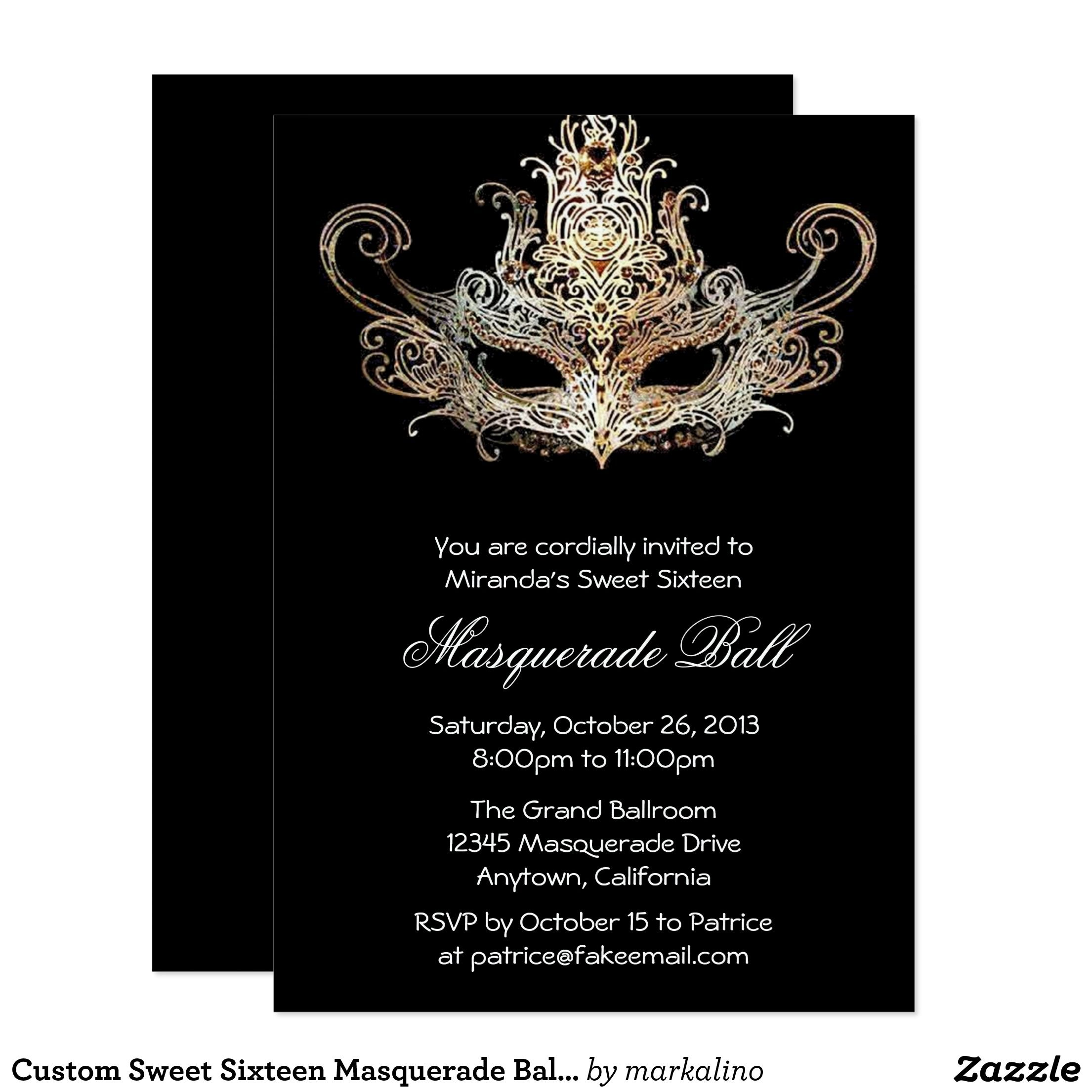 Custom Sweet Six Masquerade Ball Invitations