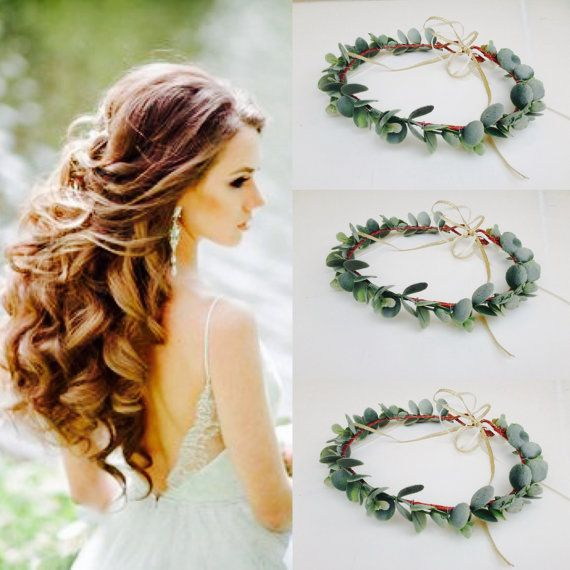 adult greenery flower crown frosted eucalyptus halo green bridal halo bridesmaid greenery crown. Black Bedroom Furniture Sets. Home Design Ideas