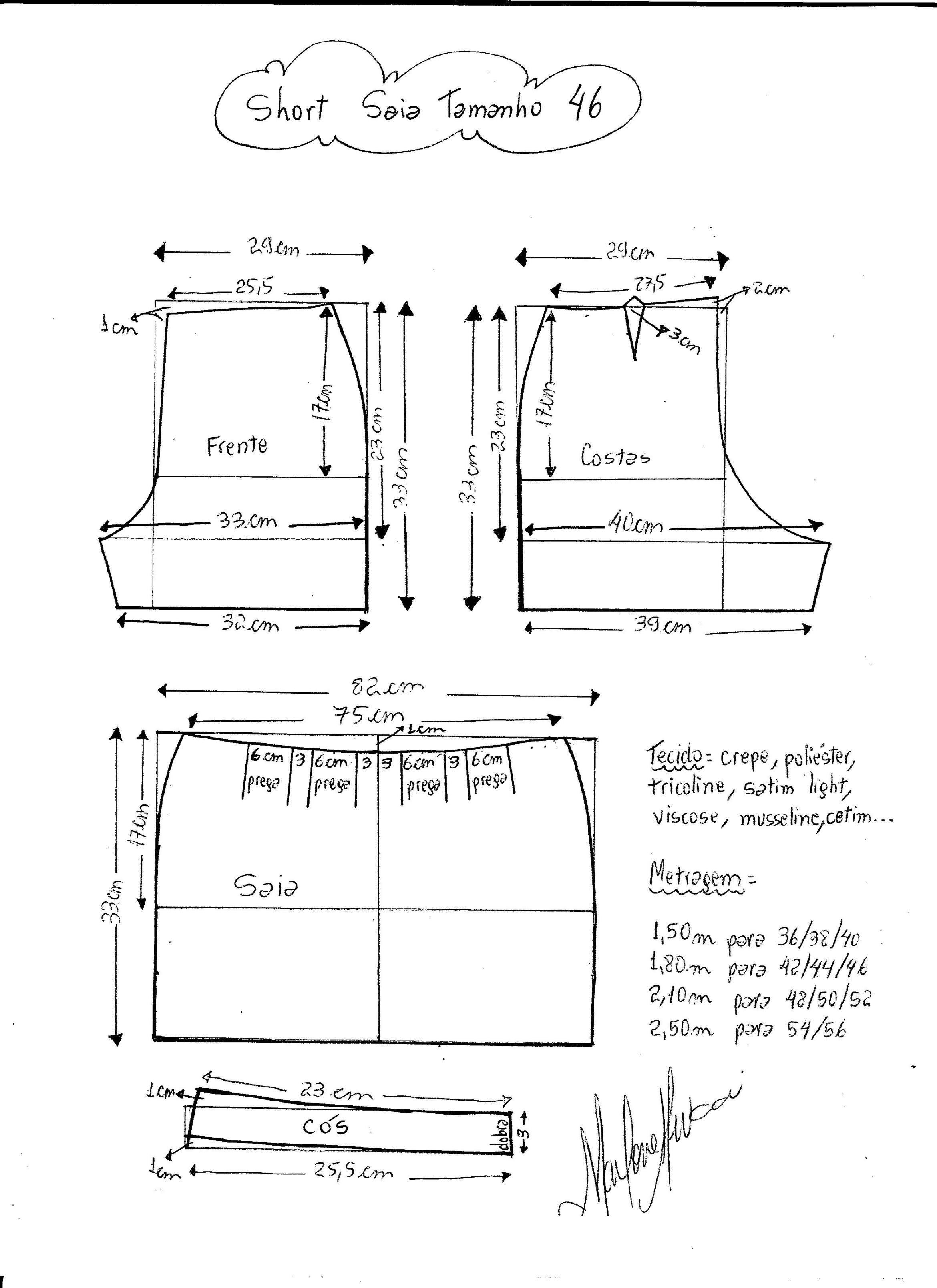 Short Saia | Costura | Sewing, Sewing pants y Sewing patterns