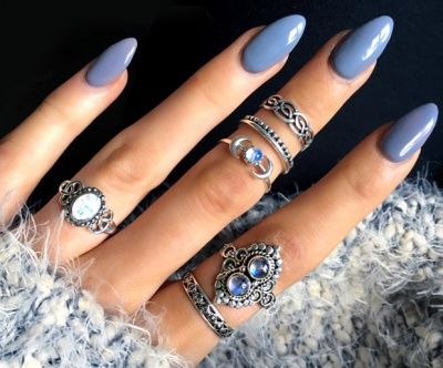 Try These 10 Gorgeous Almond Shaped Acrylic Nail Designs Grey Gel Nails Almomd