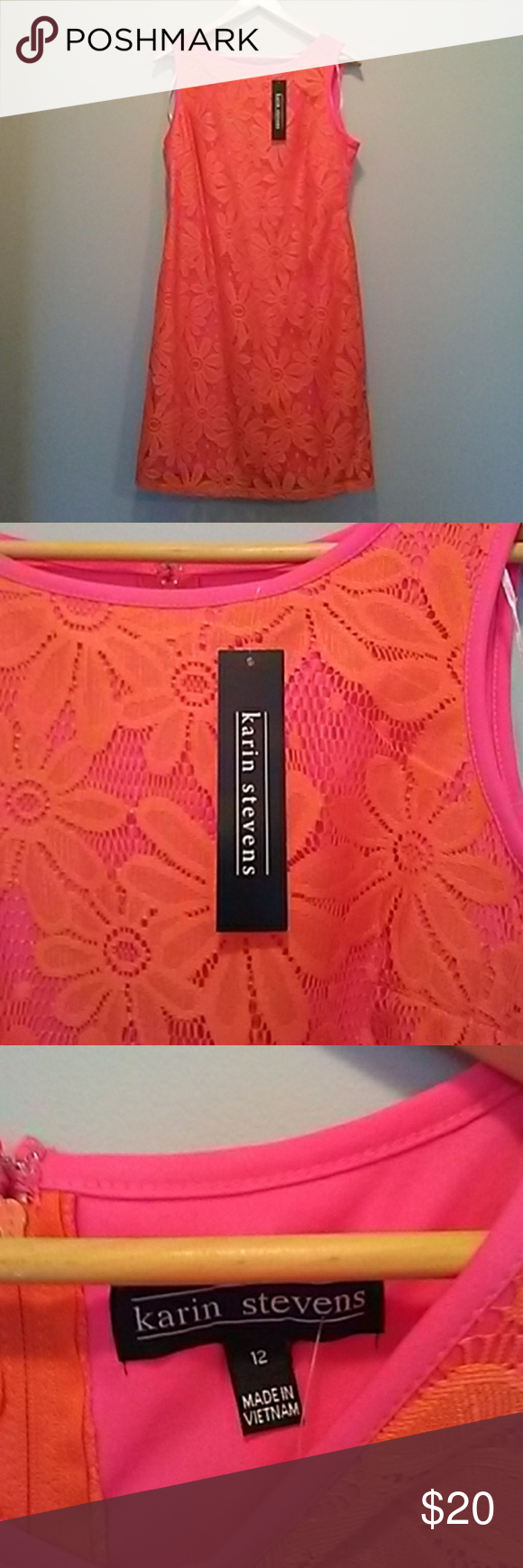 Hot pink and orange dress   Sun dress  Lace overlay Overlay and Hot pink