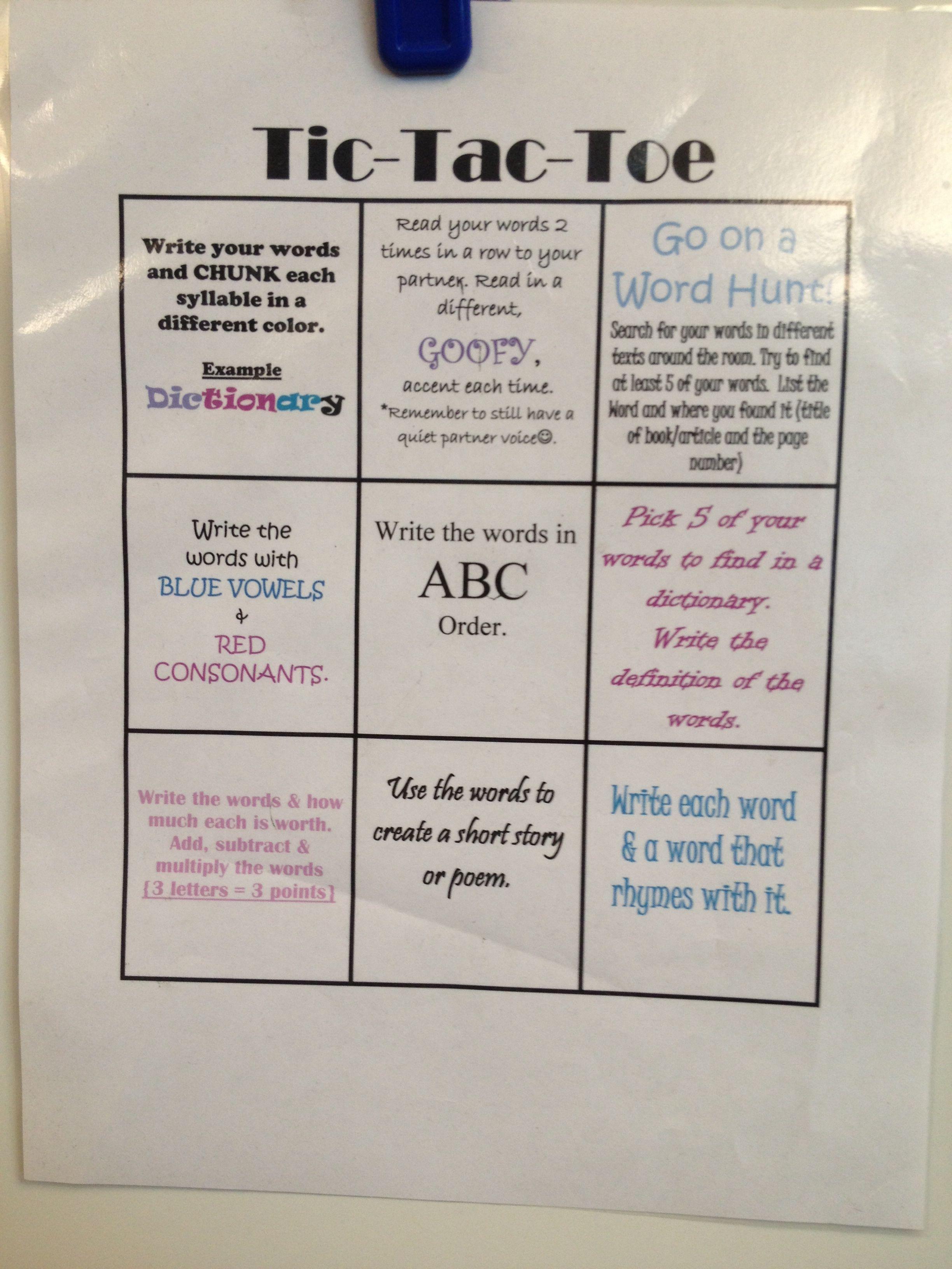Fluency Tic Tac Toe 4th Grade Internship Use With