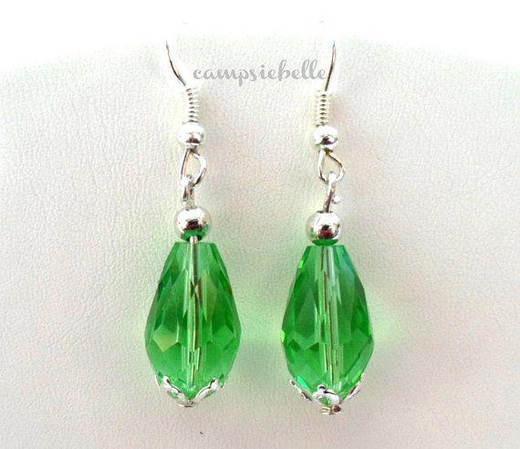 Peridot Crystal Earrings Green Teardrop Jewellery Crystals Handmade In Uk By Campsiebelle