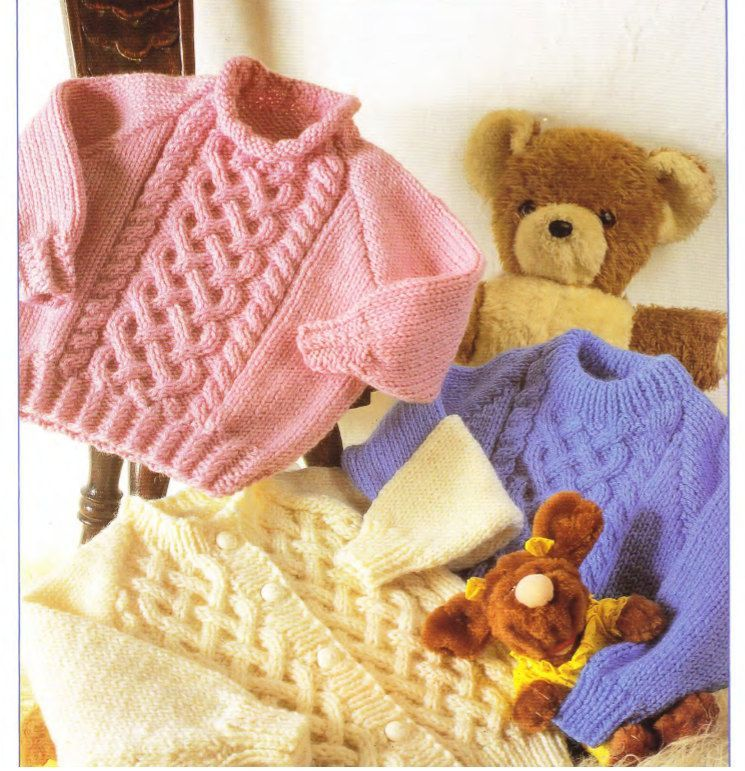 Pdf Digital Knitting Pattern Baby Childrens Cable Cardigan Sweaters