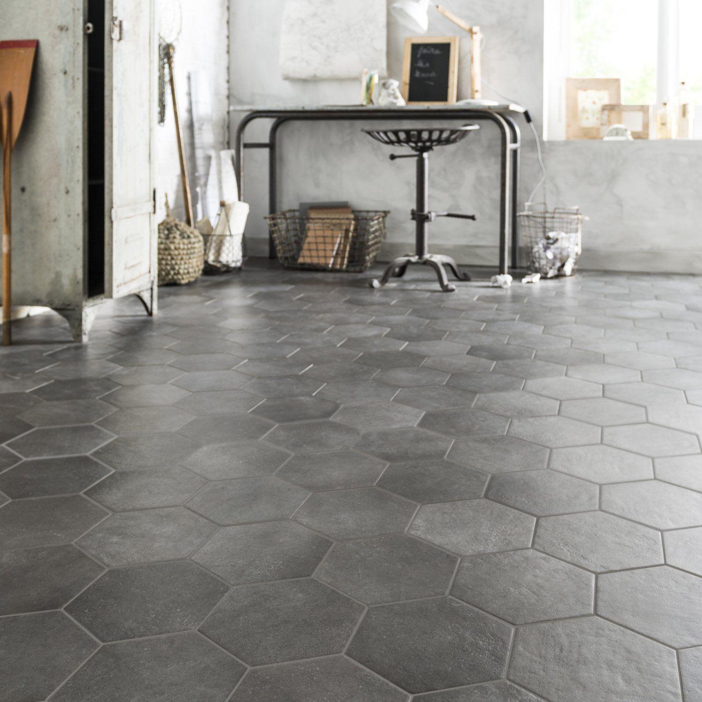 Du Carrelage Hexagonal Gris Béton Pour Un Style Vintage Dans La - Carrelage hexagonal gris