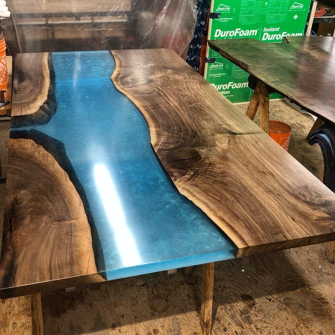 Black Walnut Countertop With A Blue River We Lightly Sanded The