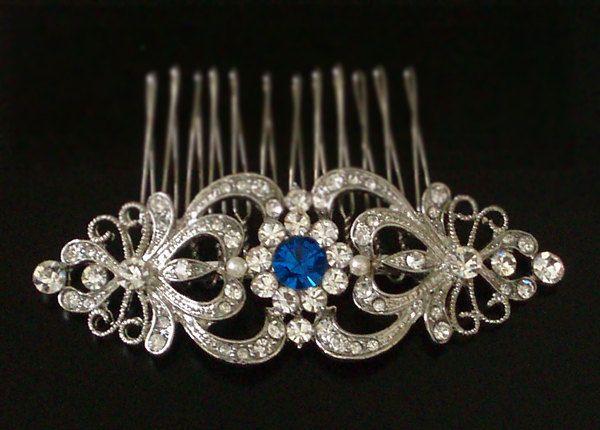 Art Nouveau Sapphire Blue Swarovski Crystal Rhinestones Hair Comb - wedding hair accessory, bridal hair comb - Something Blue. $88.00, via Etsy.