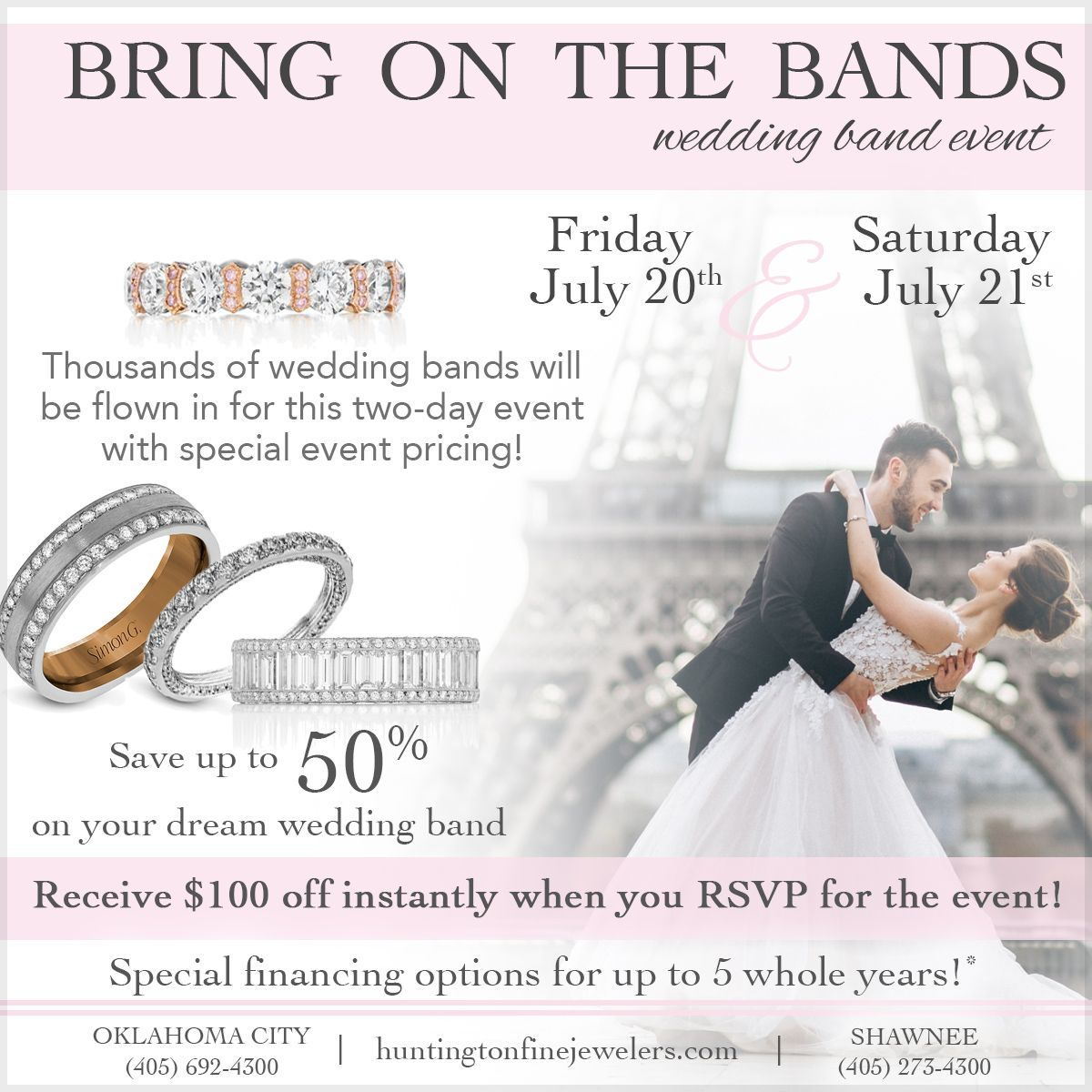 Bring On The Bands Event This Friday And Saturday Make Time To Stop In And View Thousands Of Wedding Bands Flow Wedding Band Styles Event Wedding Bands