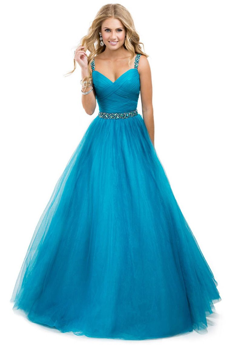 2014 Prom Dress Tulle Ball Gown With Jeweled Straps Yellow Open ...
