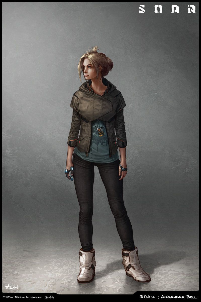 Character concept for SOAR, a sci-fi graphic novel/videogame project created by Simone Silvestri and me