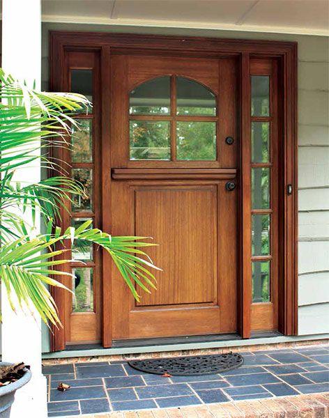Craftsman Mahogany 1 Panel 4 Lite Arched Single Door 2sidelite In 2020 Wood Exterior Door Dutch Doors Exterior Craftsman Front Doors