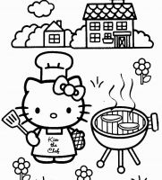 hello kitty summer bbq coloring page - Coloring Pages Kitty Summer