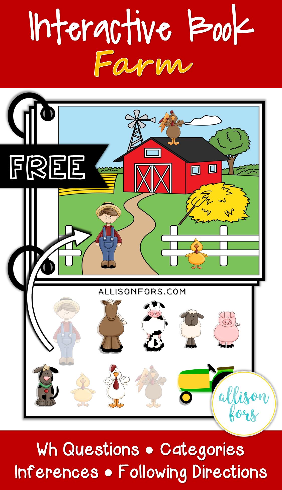 Free Farm Interactive Book Speech Therapy
