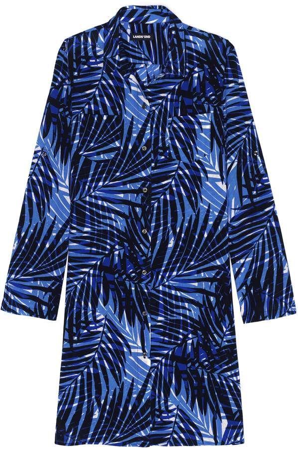 0fe22fe46e7d2 Lands' End Lands'end Women's Petite Cotton Button Down Shirt Dress Swim  Cover-up Print #Cotton#Button#Petite