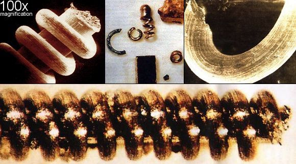 Unusual spiral objects found near the Ural mountains. May be up to 300,000 years old. Made up of copper or tungsten and molybendum - some are microscopically small.