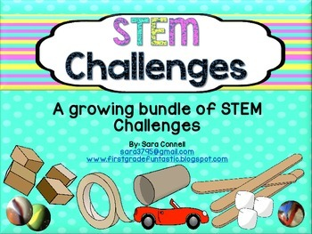 This is a growing bundle of STEM Challenges to use with your kids.  You will present the challenge to them and supply materials that are pictured on the STEM Challenge posters.  Students will work in a group to solve the Challenge.  You will have them take a picture of their completed project.