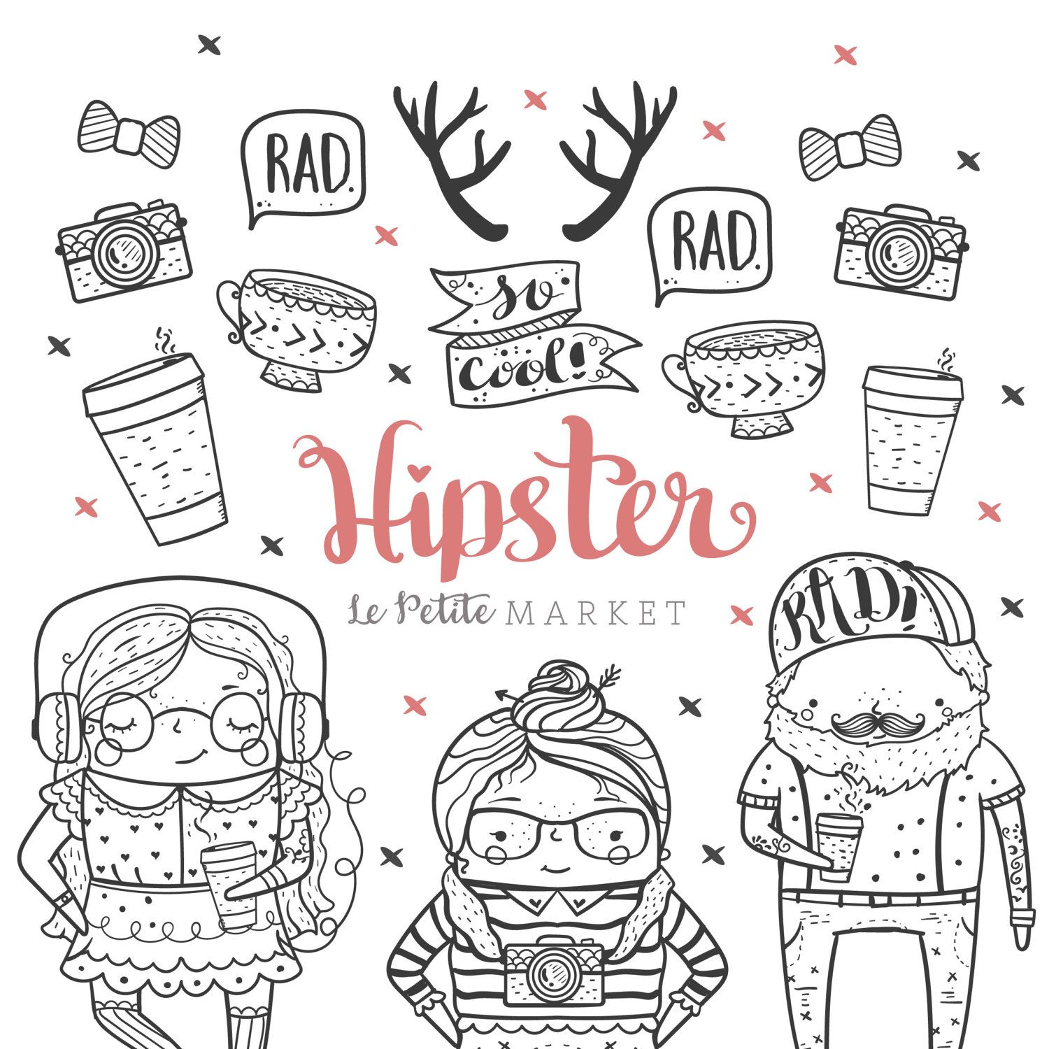 Cute Hand Drawn Hipster Clip Art Cute Hipster Clipart Etsy Hipster Illustration How To Draw Hands Hipster Doodles