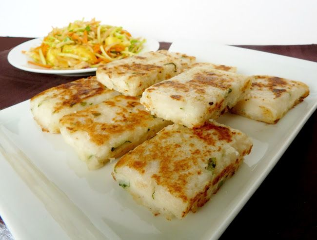 Daikon Radish Cakes: I've looked at those at the store and not known how to do something with them. Here's a thought.
