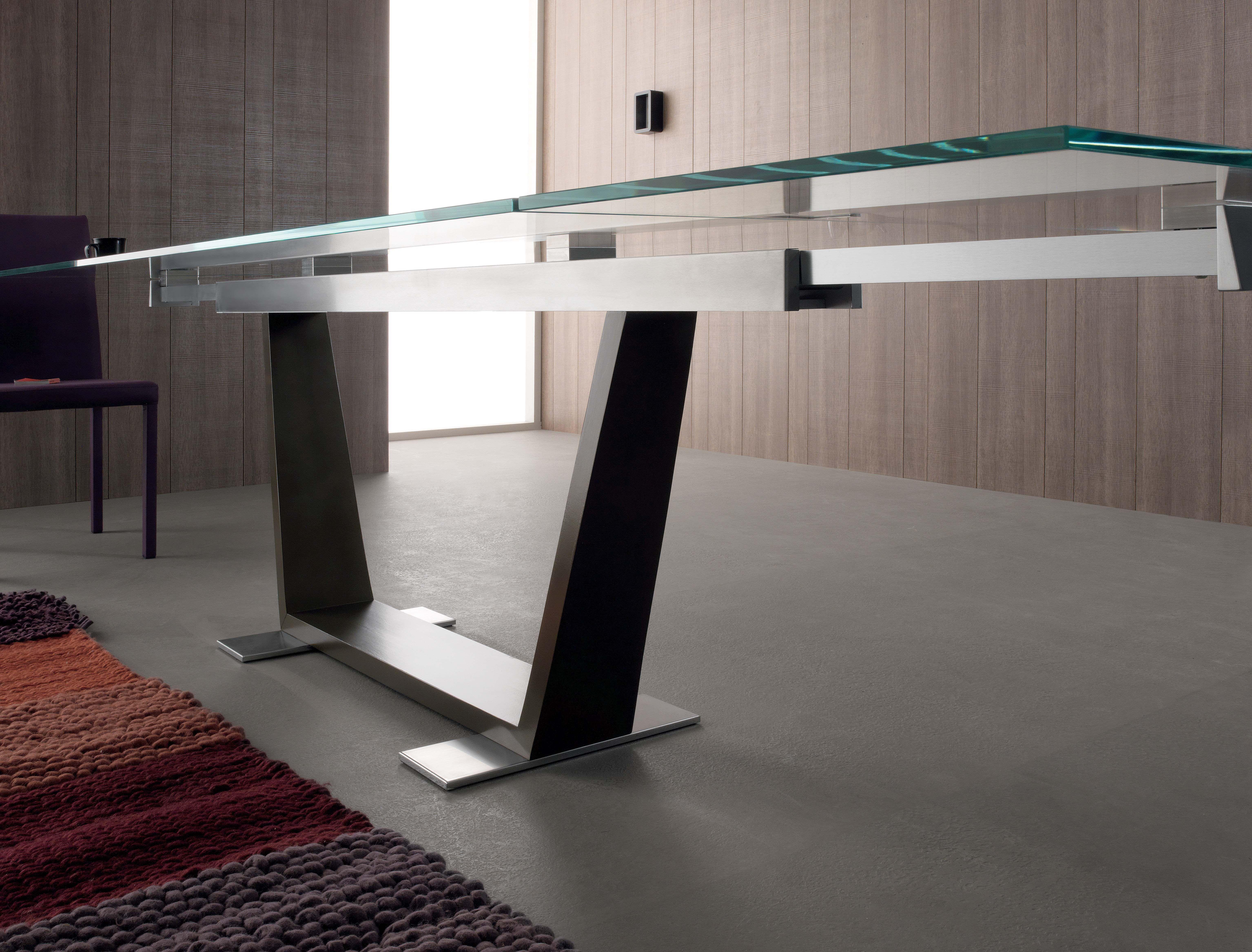 Tavolo Allargabile ~ Tavolo allungabile rettangolare in metallo in stile moderno tower