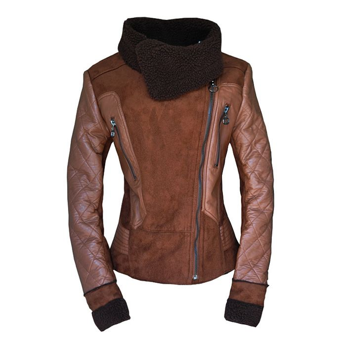 Beam Waist Zippers Stitching Fleece Lined PU Leather Color Matchimg Coat