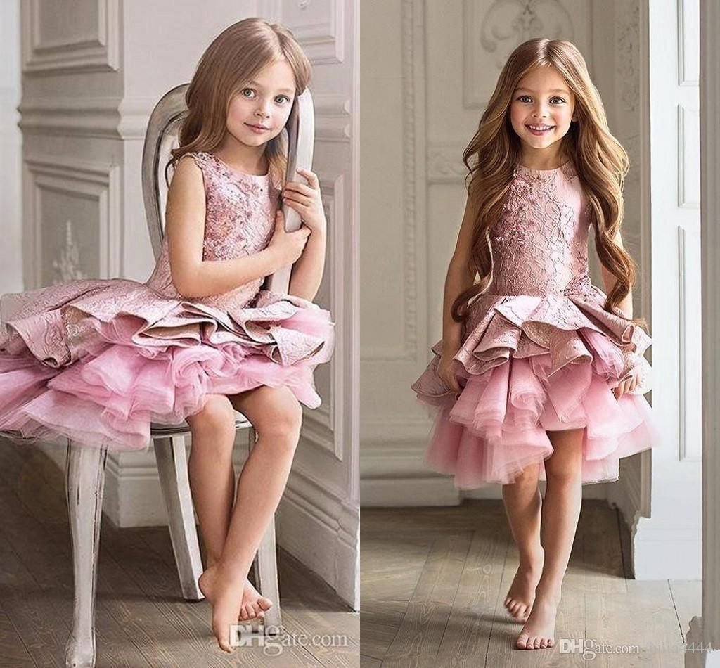 2017 New Arrival Aline Pageant Christmas Pink Tulle