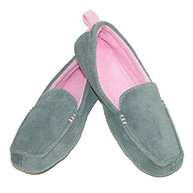 Amazon.com | Dearfoams Women's Microfiber Terry Close Toe Two-Tone Moccasin Slippers | Slippers